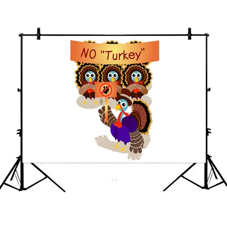 YKCG 7x5ft Cartoon Turkey Gentleman with Pilgrim Hat Happy Thanksgiving Day Photography Backdrops Polyester Photography Props Studio Photo Booth Props