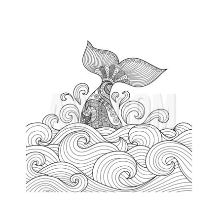 Whale Tail in the Wavy Ocean Lines Art for Adult Coloring Book,Sign, Logo, T-Shirt, Card and Design Print Wall Art By (Designing A Logo With The Logo Creator)
