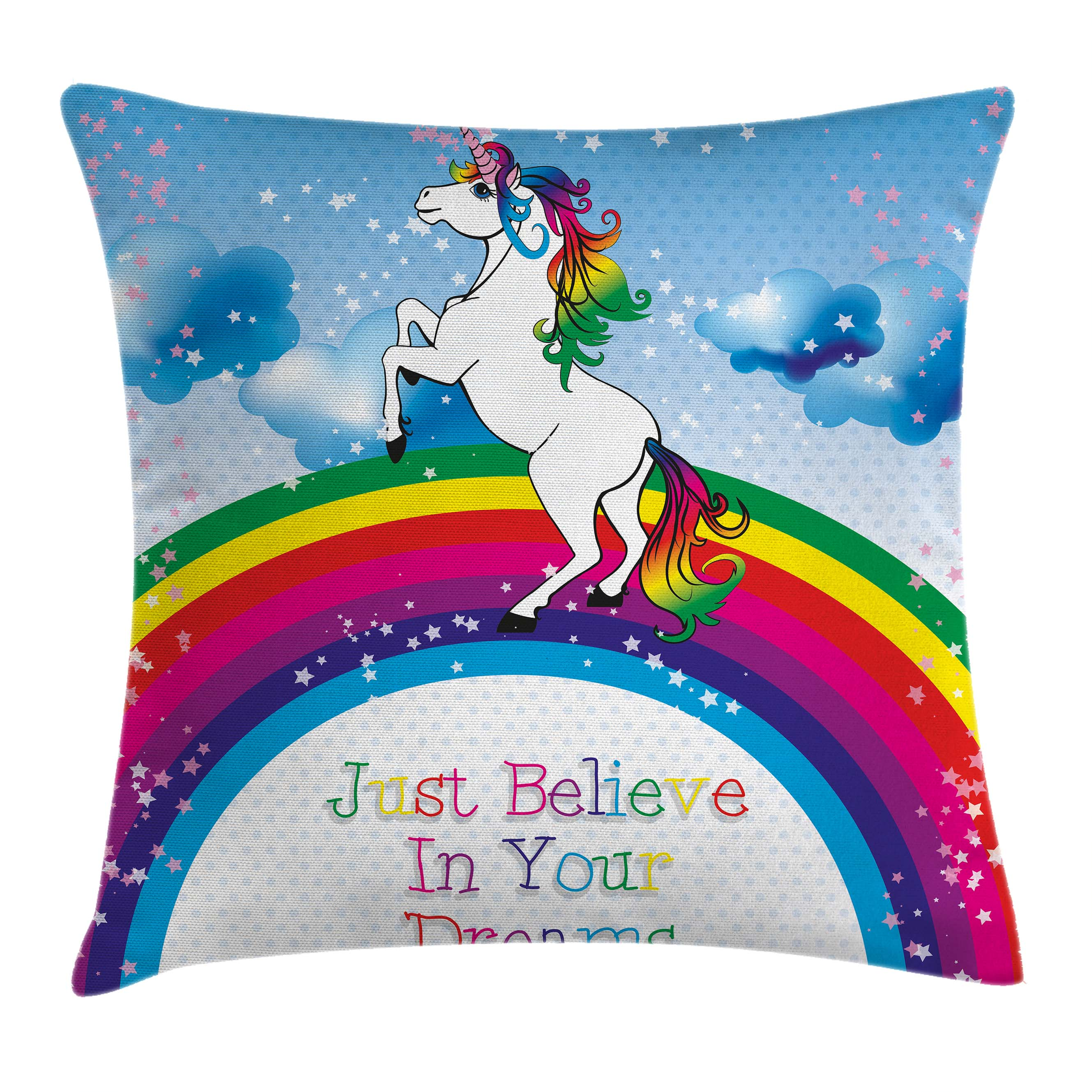 Kids Throw Pillow Cushion Cover, Unicorn Surreal Myth Creature before Rainbow Clouds Star Fantasy Girls Fairytale Image, Decorative Square Accent Pillow Case, 18 X 18 Inches, Multicolor, by Ambesonne
