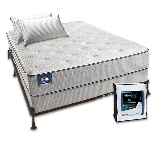 Simmons Beautysleep Cadosia Plush Euro Top Full Size Mattress Bundle