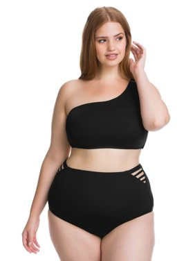 2c841e9ffa5 Product Image Becca ETC Women s Plus Size Making The Cut One Shoulder  Strappy Back Bikini Swim Top