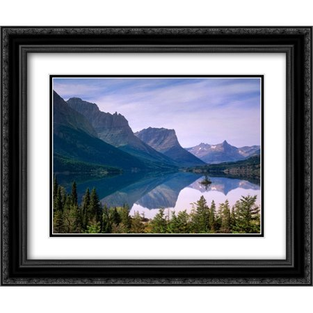Wild Goose Island in St Marys Lake, Glacier National Park, Montana 2x Matted 24x20 Black Ornate Framed Art Print by Fitzharris,