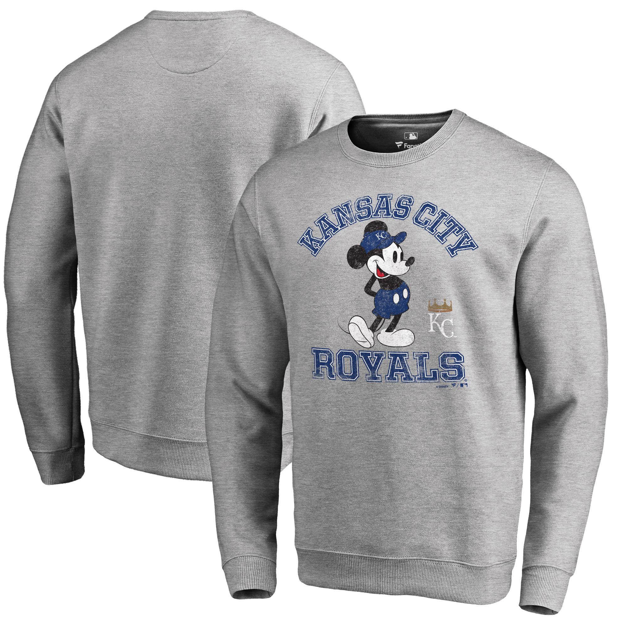Kansas City Royals Fanatics Branded Disney MLB Tradition Pullover Sweatshirt - Heathered Gray