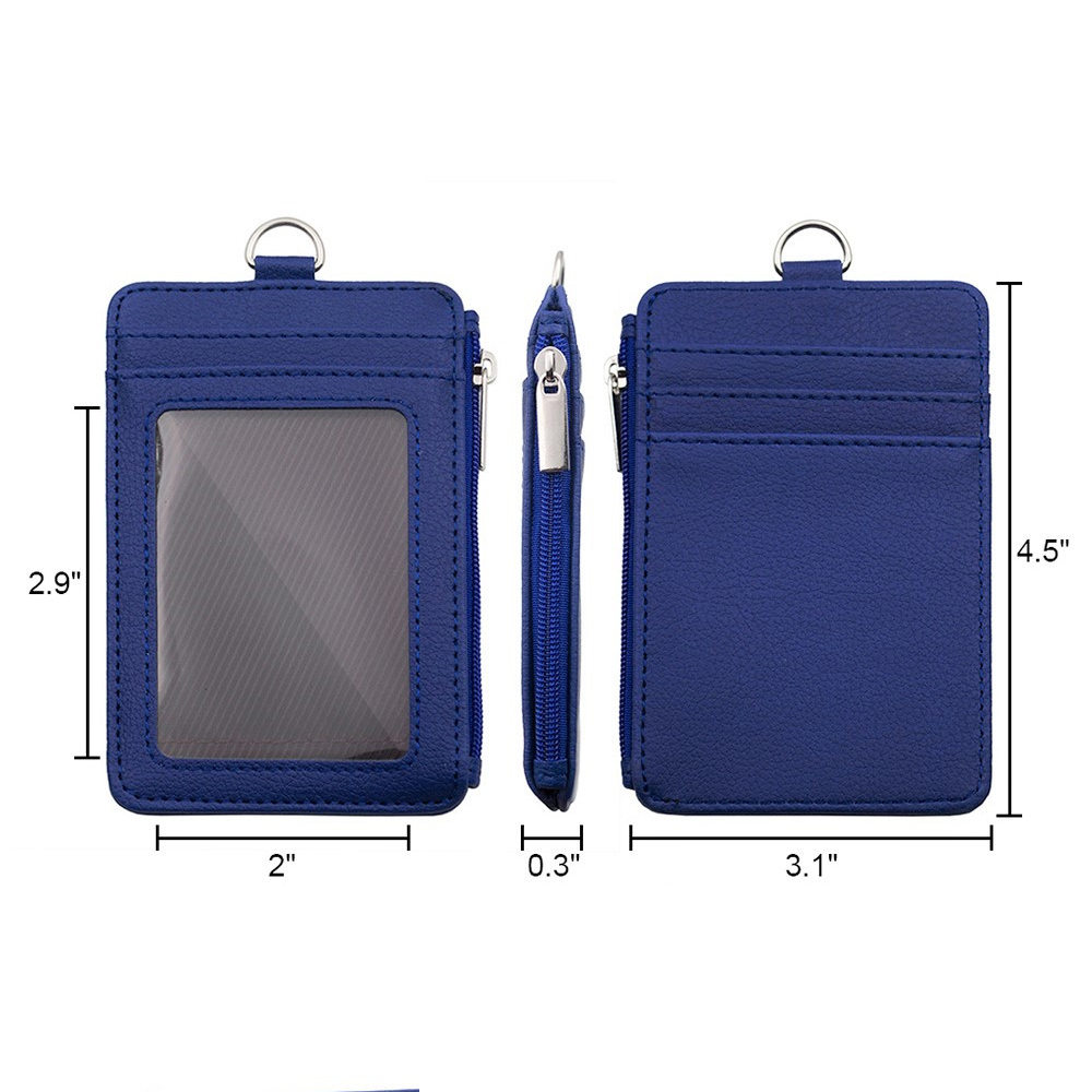 1 Zipper Pocket Badge Holder With Zip Double Sided PU Leather ID Card 5 Slots