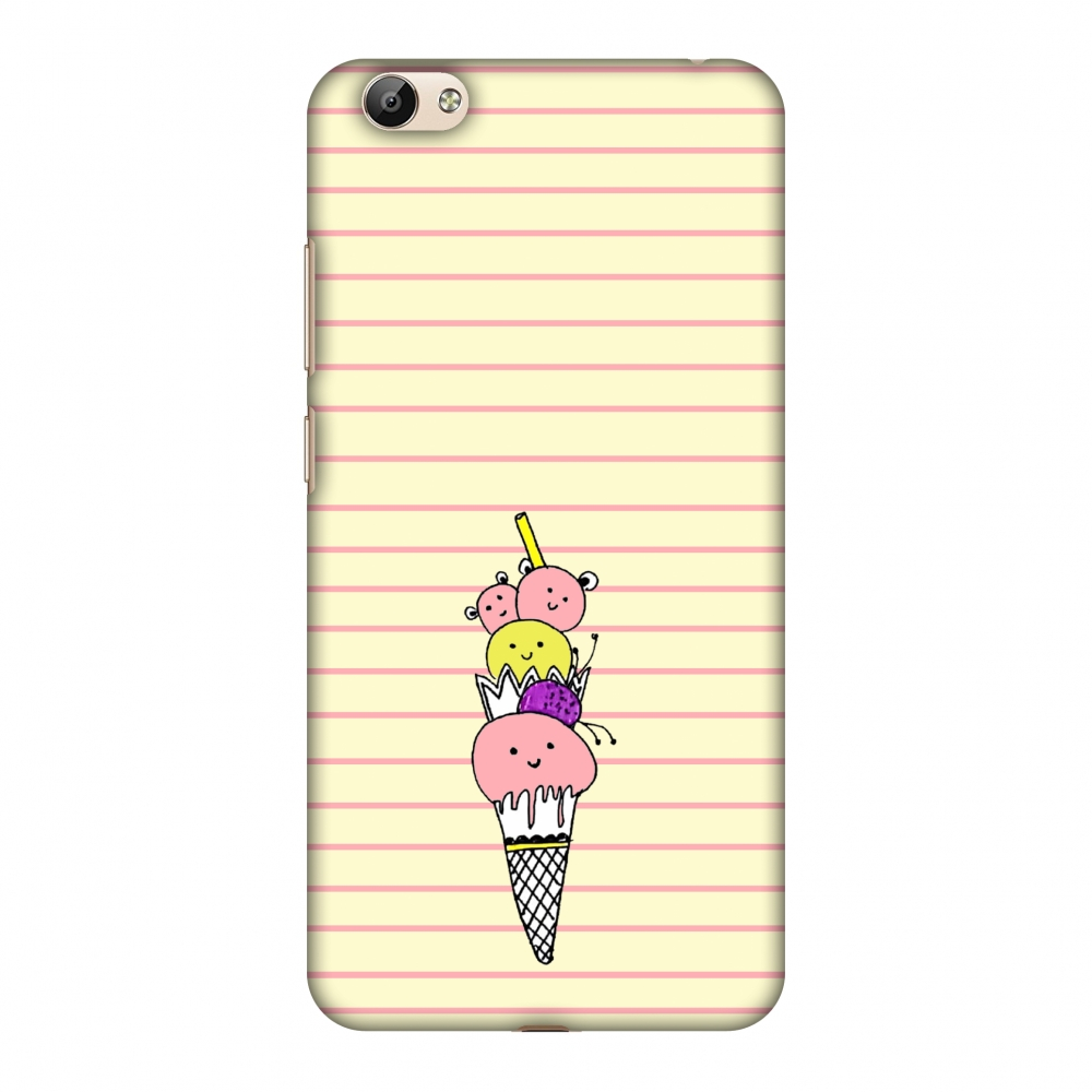 Vivo Y66 Case - Ice Cream Sisters- Yellow, Hard Plastic Back Cover, Slim Profile Cute Printed Designer Snap on Case with Screen Cleaning Kit