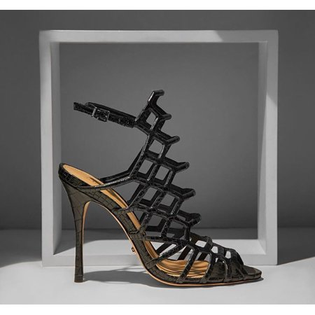 Schutz Juliana Black Croco Leather Stiletto High Heel Caged Dress Sandals