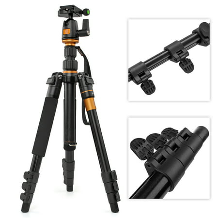 DSLR Camera Tripod - Professional Q555 Portable Travel Compact Monopod With Ball Head Adjustable Legs Magnesium Aluminium For Digital Canon Nikon Sony Olympus Pentax Stand (Best Compact Dslr For Travel)