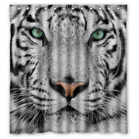 GreenDecor White Tiger Waterproof Shower Curtain Set with Hooks Bathroom Accessories Size 66x72 inches Tigers Jersey Shower Curtain