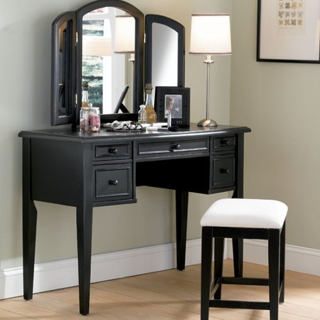 black vanity table without mirror. Powell Furniture Antique Black Vanity Set With Mirror  Walmart Com