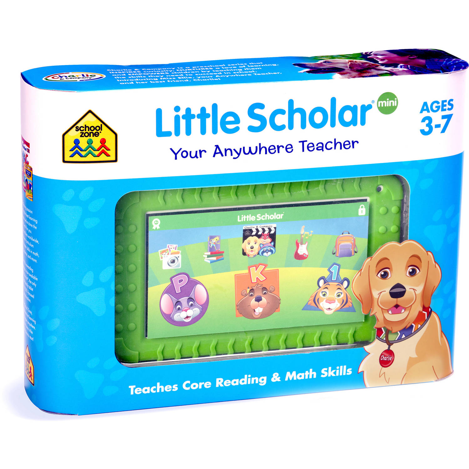 """Little Scholar with WiFi 7"""" Kid's Learning Tablet PC by School Zone Featuring Android 5.1.1 (Lollipop) Operating System and Premium Green Bumper"""