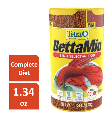 Tetra BettaMin Select-A-Food Flakes, Betta Fish Food, 1.34 oz