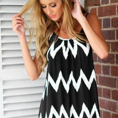 Fashion Wavy Strip Female Midi Dress Braces Shoulder Tassel Hem Beach Dress - image 5 of 7