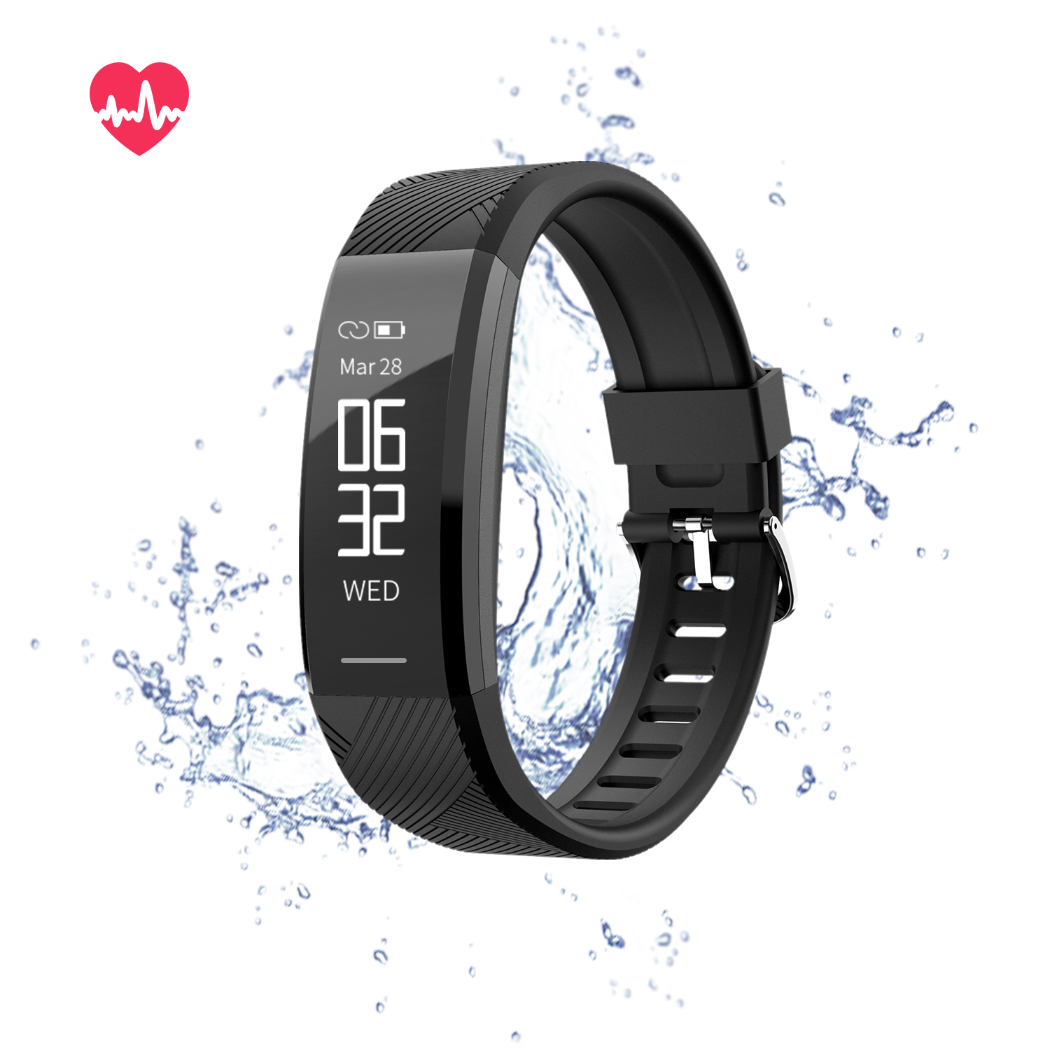 Bluetooth Fitness Tracker Smart Bracelet Watch Heart Rate Monitor Activity Tracker with Step Counter Sleep Monitor IP67 Waterproof Pedometer for Android and iOS Smartphone