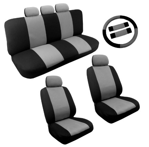 Dual Color Black and Gray Two Tone Car Seat Cover Set 14pc Steering Wheel Cover For Toyota Corolla