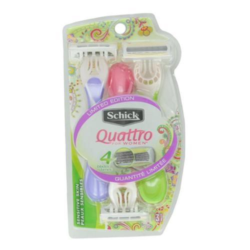 Schick Quattro For Women Disposable Razors, Sensitive Skin 3 ea (Pack of 2)