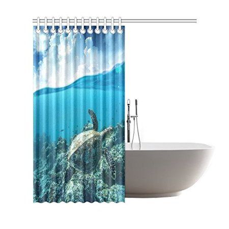 GCKG Ocean Underwater World Shower Curtain, Sea Turtle Polyester Fabric Shower Curtain Bathroom Sets 66x72 Inches - image 1 of 3