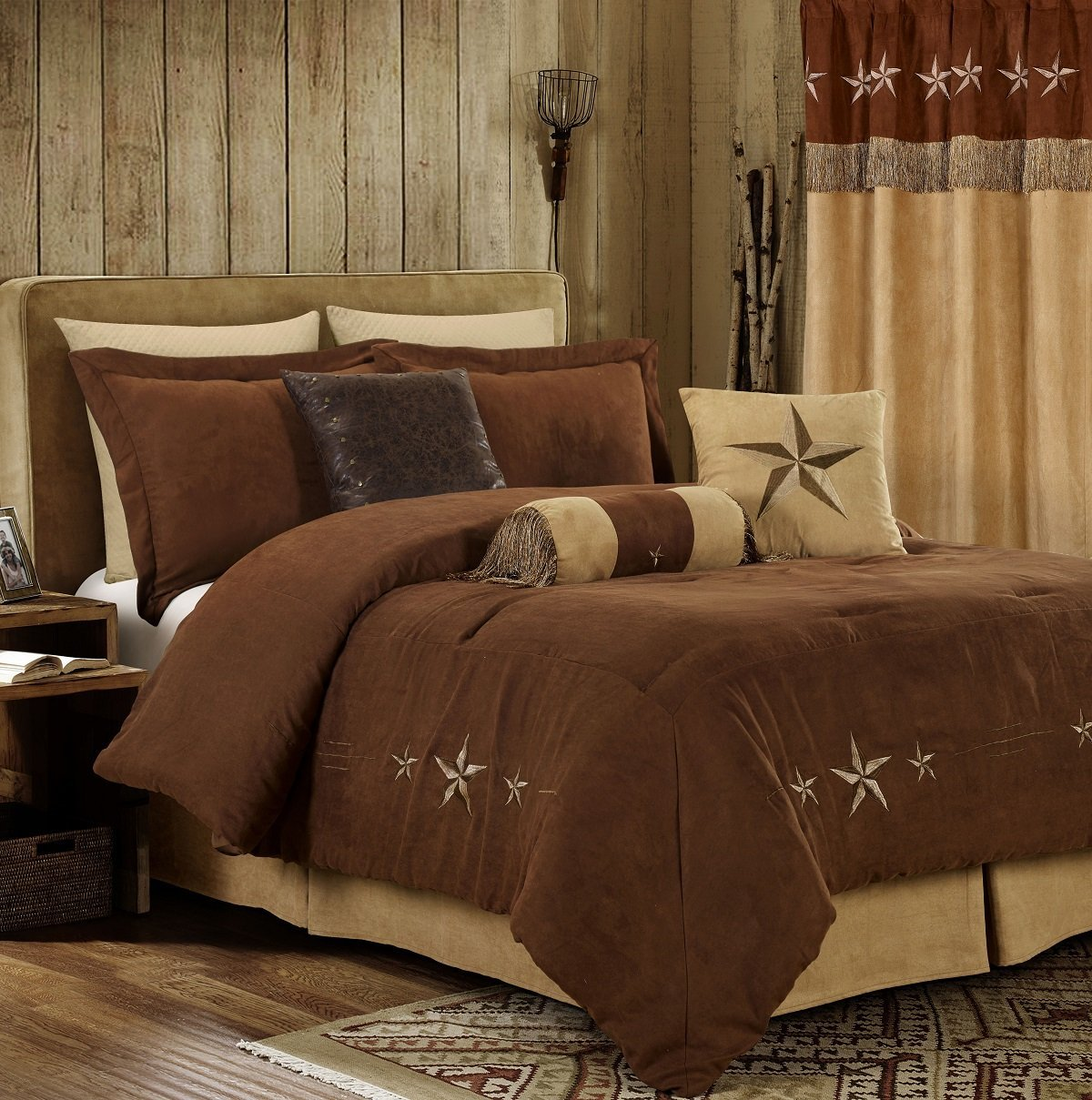 Chezmoi Collection Laredo 7-Piece Western Star Embroidery Microsuede Oversized Comforter Set