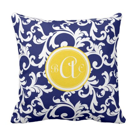 Rylablue White Modern Navy Blue And Yellow Damask Monogram Pillowcase Cover 16x16 Inch Walmart Canada