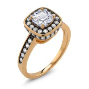 Beverly Hills Silver 18k Two-tone Gold Cushion-cut Cubic Zirconia 'Emma' Ring