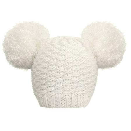 Women's Cute Knit Fuzzy Pompom Winter Beanie Hat, White - Fuzzy Panda Hat