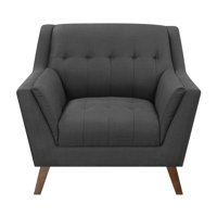 Emerald Home Binetti Charcoal Pebble Accent Chair with Angular Arms And Legs, Deep Tufting, And Stitching Details