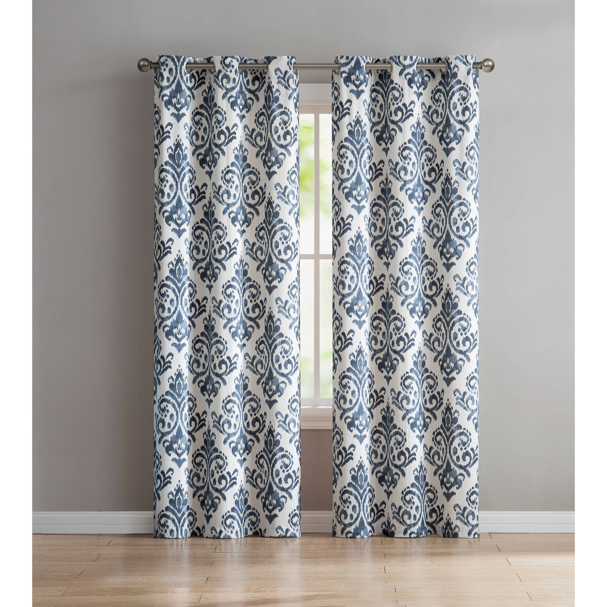 VCNY Home Alton Damask Grommet Top Window Curtain Panel, Set of 2, Multiple Sizes Available