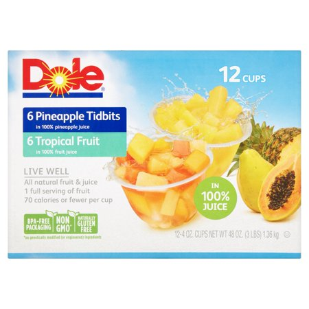 Dole  Tropical Fruit And Pineapple Tidbits In 100  Fruit Juice 12 4 Oz  Cups