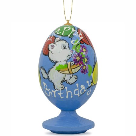 BestPysanky White Cat with Happy Birthday Balloons Wooden Christmas Ornament ()