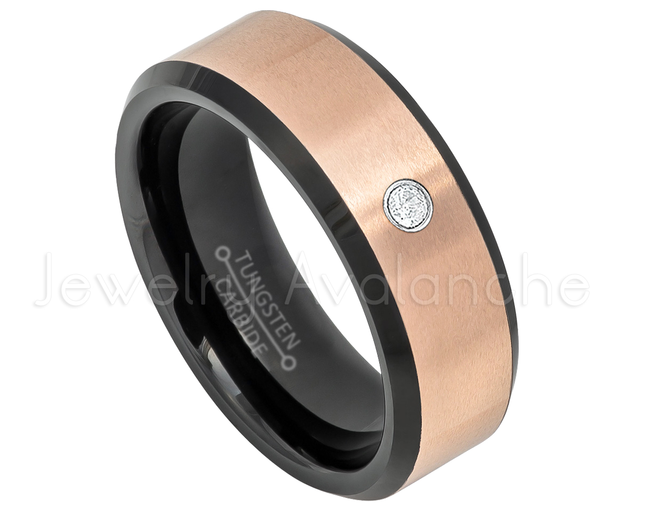 Brushed Finish Grooved Comfort Fit Pipe Cut Tungsten Carbide Wedding Ring TN030BS June Birthstone Ring 0.07ct Alexandrite Solitaire Ring