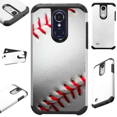 For LG Stylo 3 | LG Stylo 3 Plus Case Hybrid TPU Fusion Phone Cover (Baseball) (Baseball Cell Phone Cover)