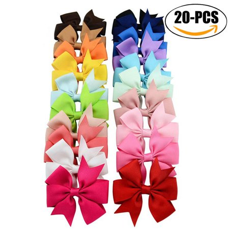 20Pcs Hair Clip set, Coxeer Kids' Grosgrain Ribbon Bowknot Multicolor Hair Clip for Children Girls' Hair Bow Headwear (Random Color)](Halloween Korker Hair Bows)