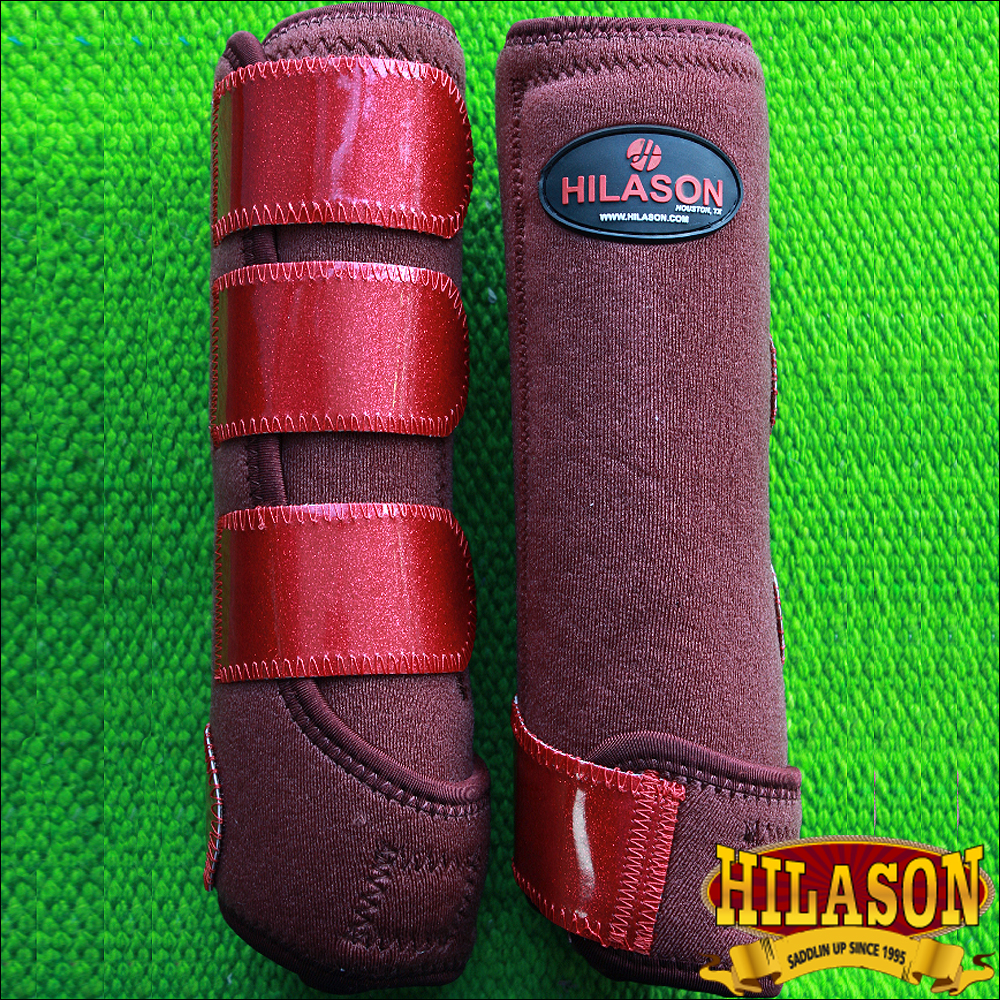 LARGE HILASON GLITTER RED HORSE FRONT LEG PROTECTION ULTIMATE SPORTS BOOT PAIR
