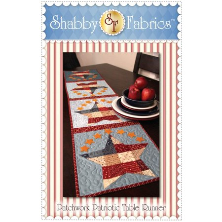 Patchwork Patriotic Table Runner Pattern, Finished Size 12 1/2 x 53 By Shabby - Half Marathon Runner