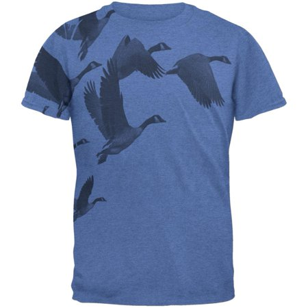 Canadian Geese Goose Flying V Mens T Shirt Heather Royal MD Canadian Goose Clothing