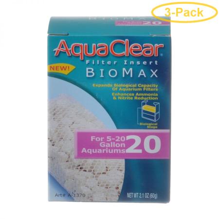 Aquaclear Bio Max Filter Insert Bio Max 20 (Fits AquaClear 20 & Mini) - Pack of 3