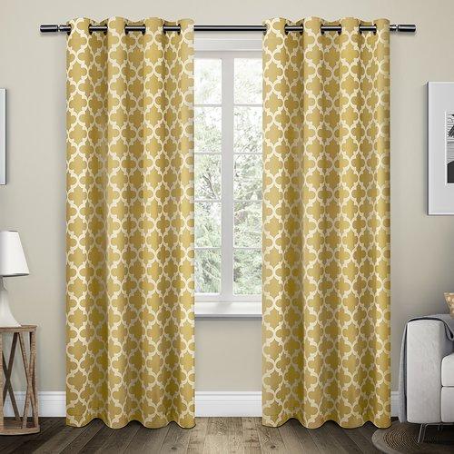 Alcott Hill Stanton Geometric Room Darkening Grommet Curtain Panels (Set of 2)