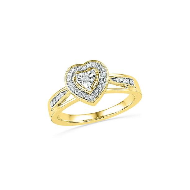10kt Yellow Gold Womens Round Diamond Heart Ring .03 Cttw...