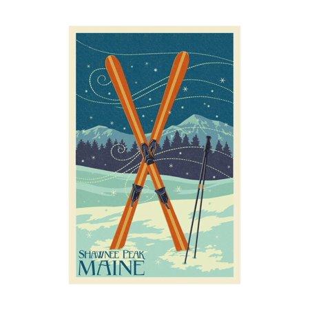 Shawnee Peak, Maine - Crossed Skis Print Wall Art By Lantern Press