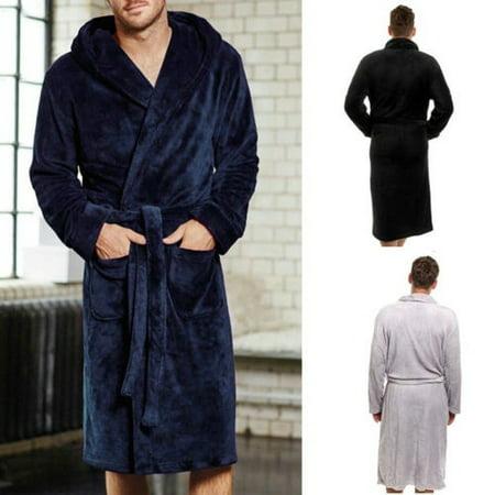 Fashion Mens Cotton Terry Cloth Bathrobe Shawl Collar Velour Spa Robe Cotton Spa Robe