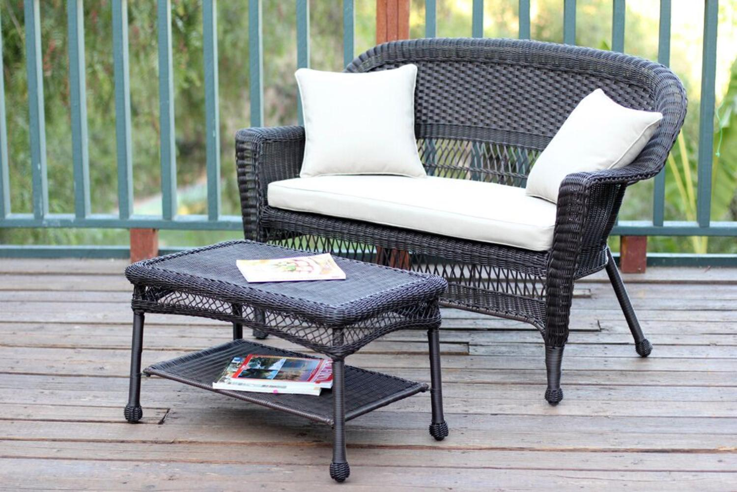 2-Piece Oswald Espresso Resin Wicker Patio Loveseat & Coffee Table Set Tan Cushion by CC Outdoor Living