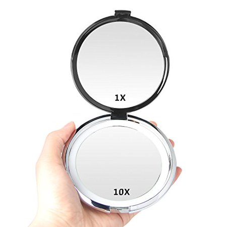 Magnifying Mirror E Yobe 1x 10x Magnification 4 13 Inches Lighted Compact Makeup