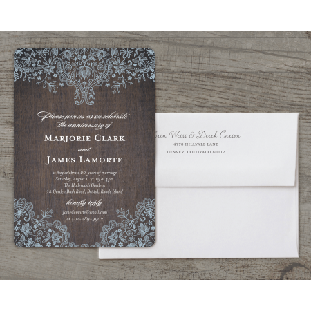 Personalized Wedding Anniversary Party Invitation - Rustic Lace - 5 x 7 Flat Deluxe