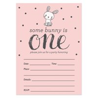 1st Birthday Invitations with Envelopes ( Pack of 25 ) Bunny Blank Baby Girl Invites, First Birthday Party Invites Excellent Value by Digibuddha VI0010B