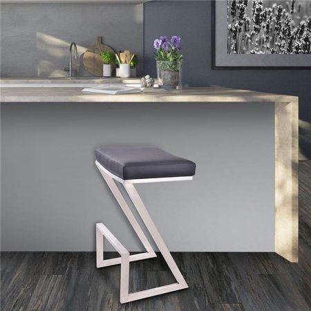 Atlantis 30 in. Bar Height Backless Barstool in Brushed Stainless Steel with Black Faux Leather ()