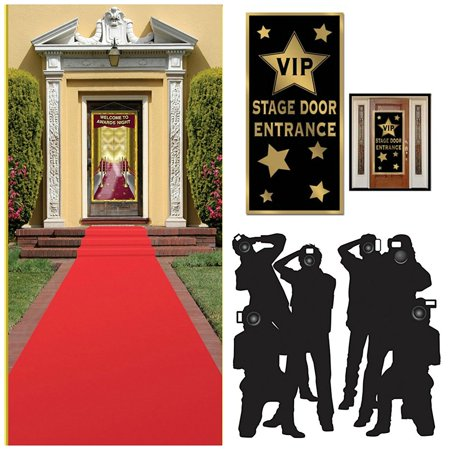 Hollywood Red Carpet Awards Ceremony Party Theme Supplies and Decorating Kit of 3 Items - Red Runner, Paparazzi Props and VIP Entrance Door Cover,.., By Party House