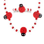 Emitations Little Girl's Red Wooden Lady Bug Necklace and Bracelet Set