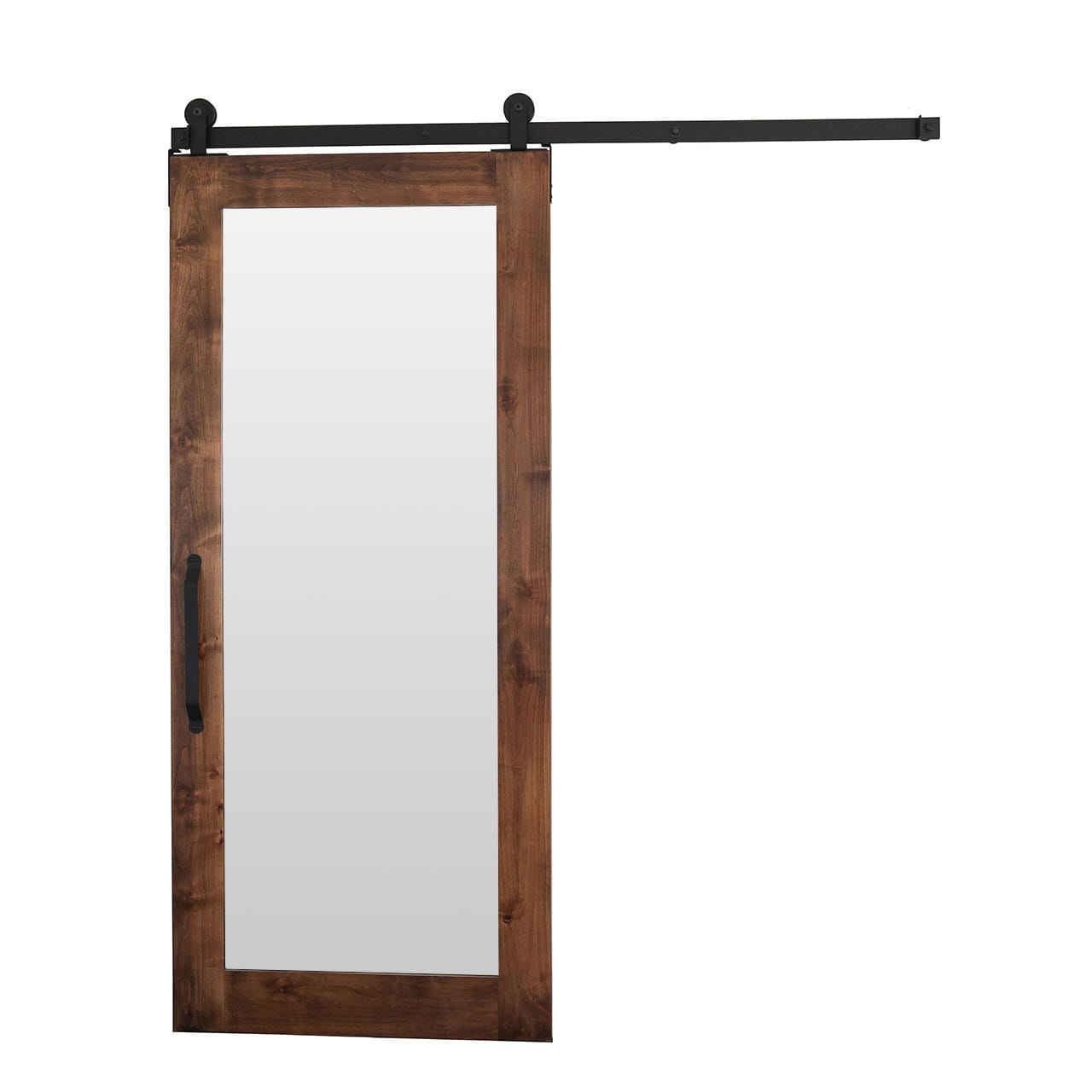Rustica Hardware 42 X 84 Inch Mirror Barn Door With Flat Track Hardware