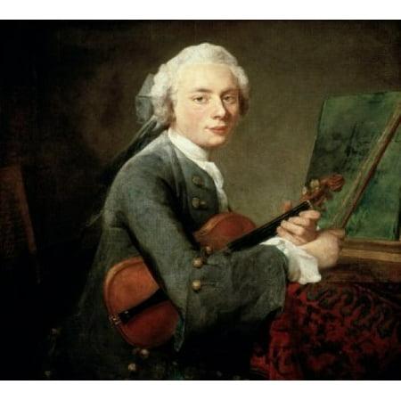 Image of Young Man with a Violin (Jeune Homme au Violon) Jean-Simon Chardin (1699-1779 French) Musee du Louvre Paris Canvas Art - Jean-Simon Chardin (18 x 24)