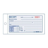 Rediform, 50 Set Money Receipt 2/Part Collection Forms, 1 Each, White,Yellow, RED8L820