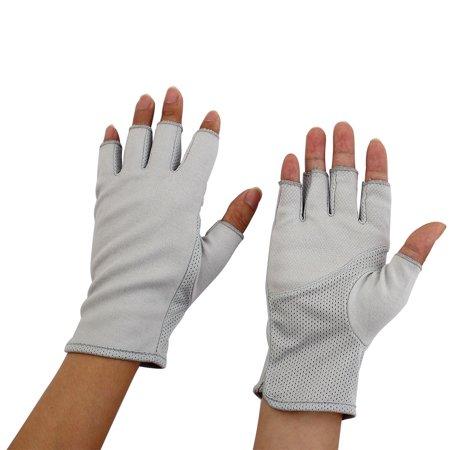 Women Breathable Half Finger Mittens Summer Sun Resistant Gloves Gray Pair